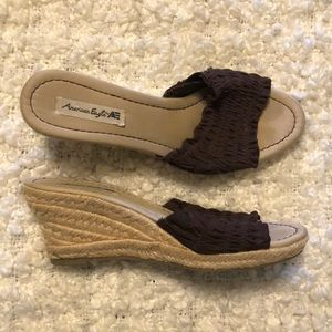 American Eagle Tan/Brown Ruffle Wedge Sandals
